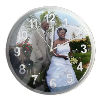 Personalised Plastic Wall Clock 30cm - White